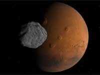Phobos-kuu Marsin yläpuolella